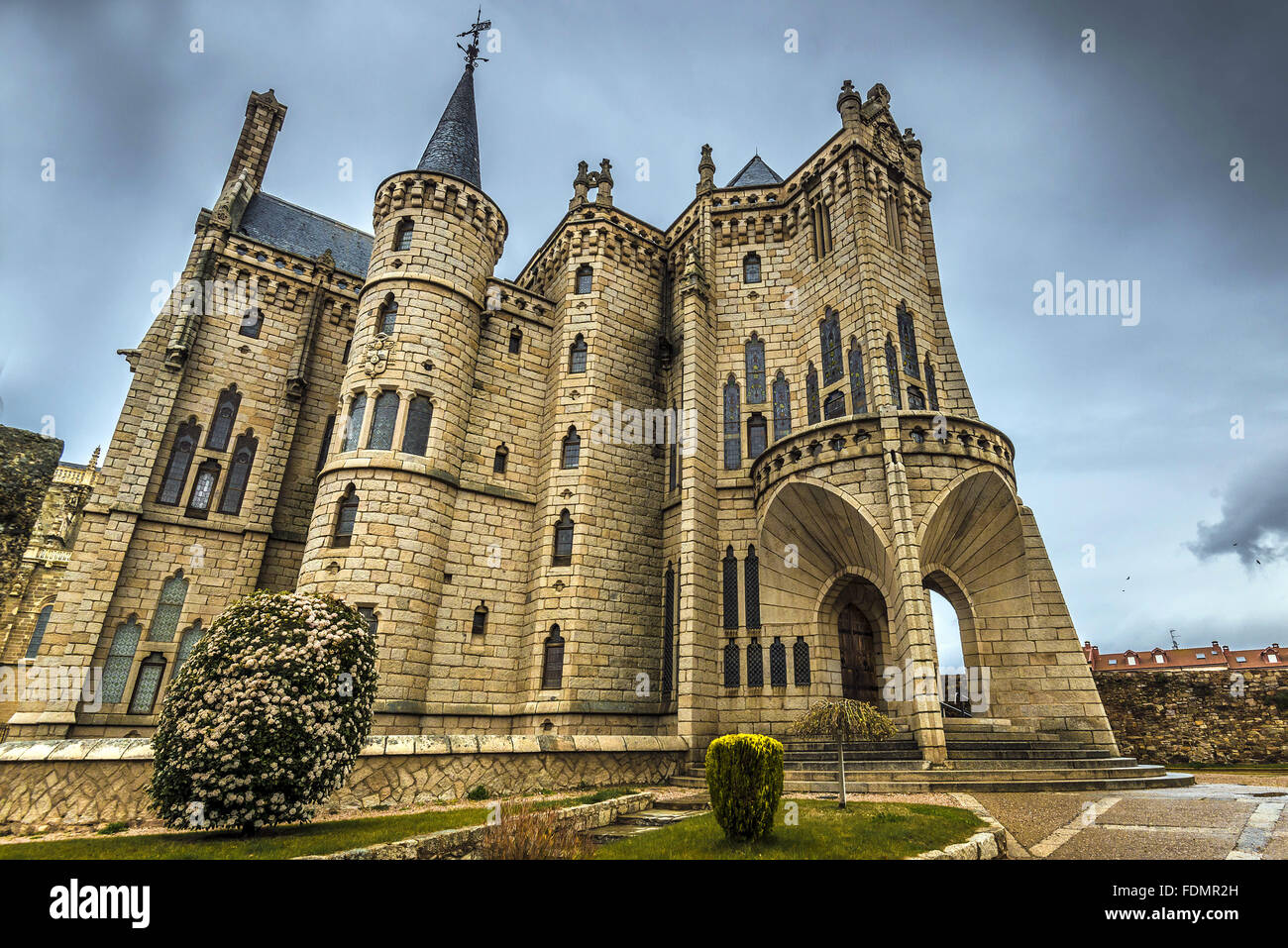 Episcopal Palace of Astorga - designed by Antoni Gaudi - construction 1889-1913 - Stock Image