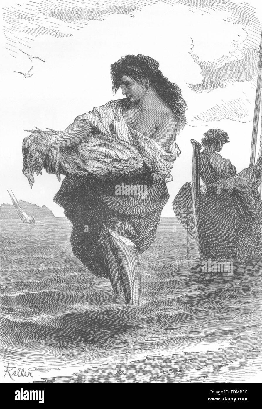 ITALY: Neapolitan Fisher- girl, antique print 1877 - Stock Image