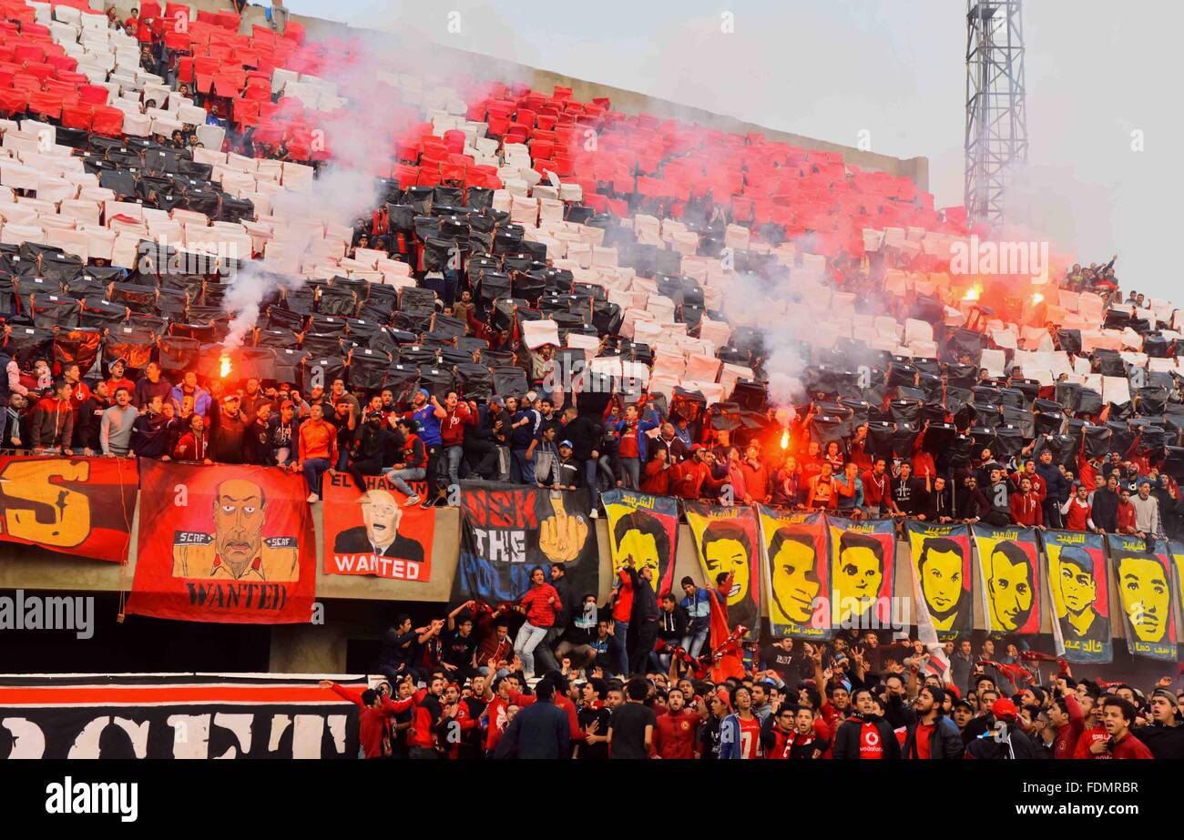 Cairo Egypt 1st Feb 2016 Al Ahly Fans Also Known As Ultras Light Flares And Shout Slogans At Al Ahly Club S Training Stadium Marking The Fourt Anniversary Of Killing Al Ahly Fans In What