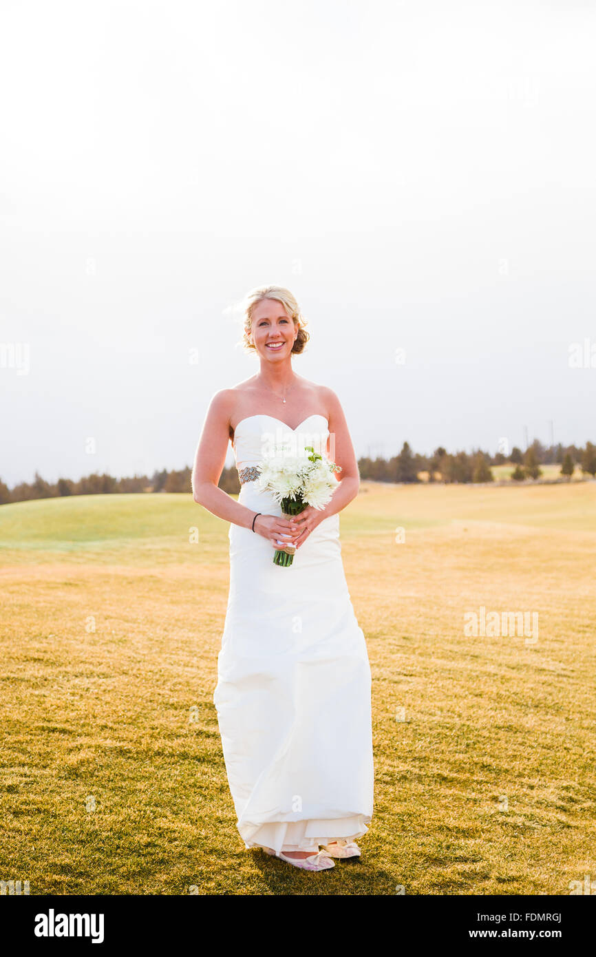 Bride portrait during the bridal session at a wedding in Central Oregon. - Stock Image