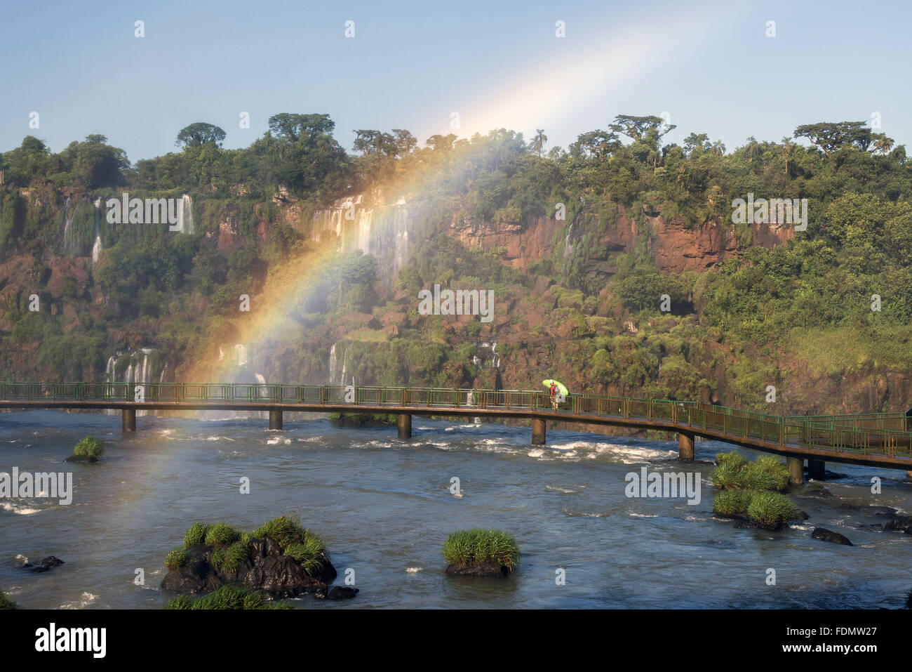 Rainbows in the Iguaçu Falls - Stock Image