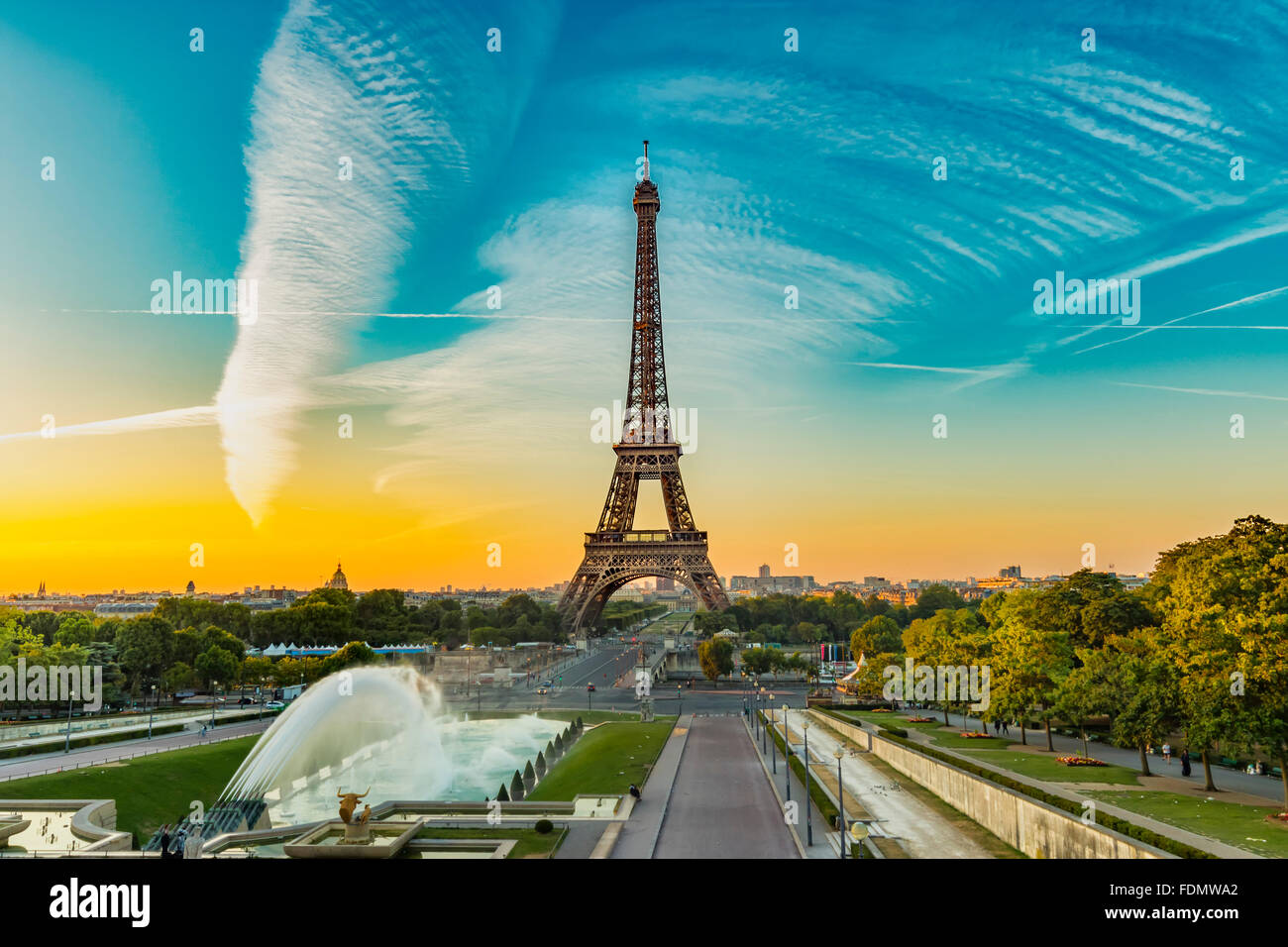 Eiffel Tower seen at sunrise from Esplanade du Trocadero in Paris. - Stock Image