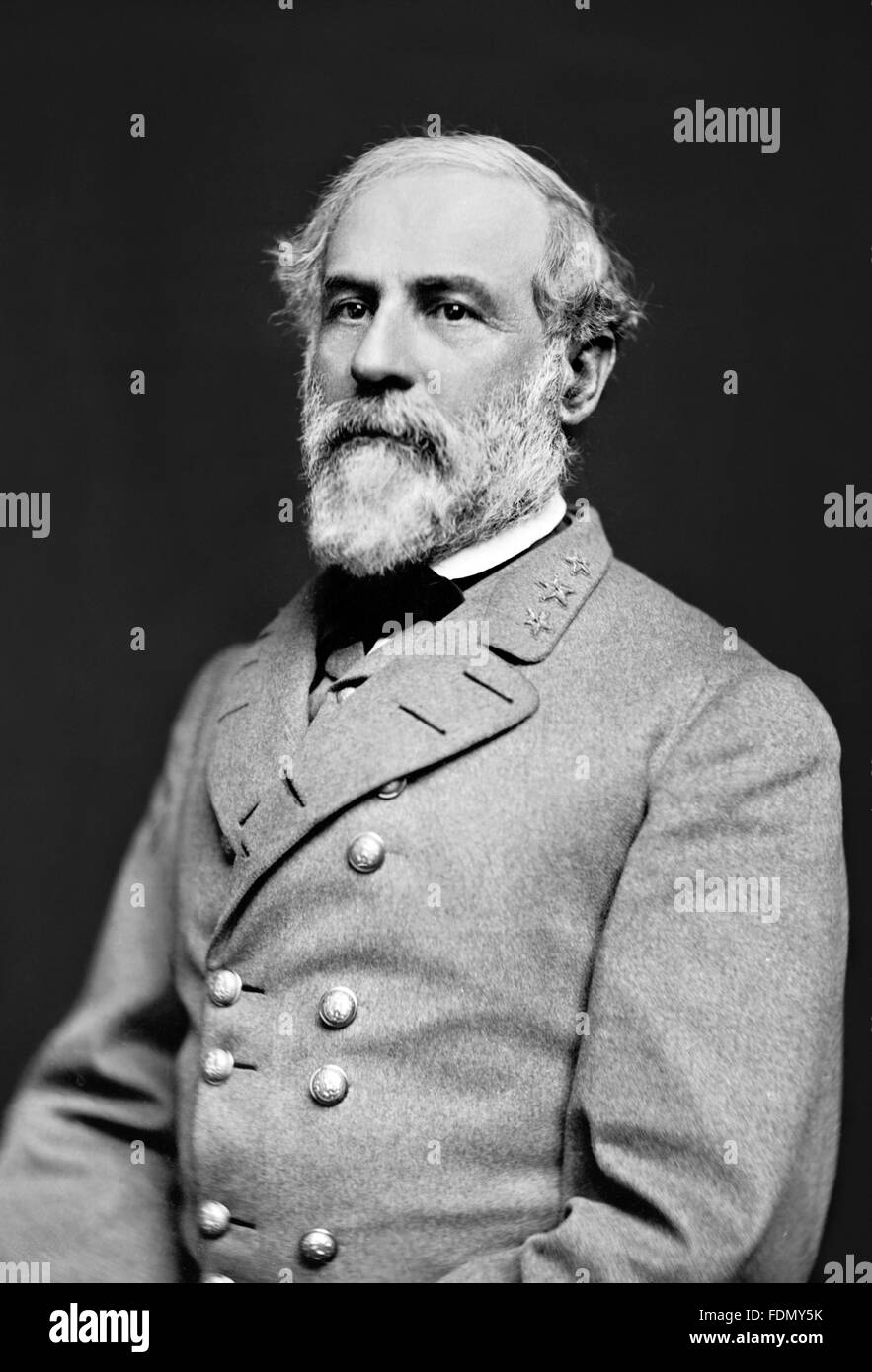 Robert E Lee. Civil War Confederate Army General Robert E Lee. Photo by Julian Vannerso, March 1864 - Stock Image