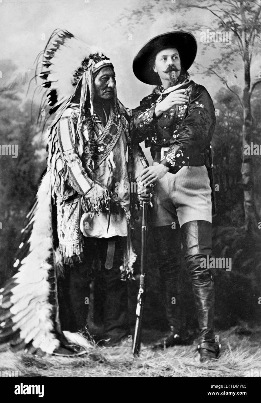 Buffalo Bill Wild West Show. Sitting Bull, a Hunkpapa Lakota holy man and leader, largely responsible for the defeat Stock Photo