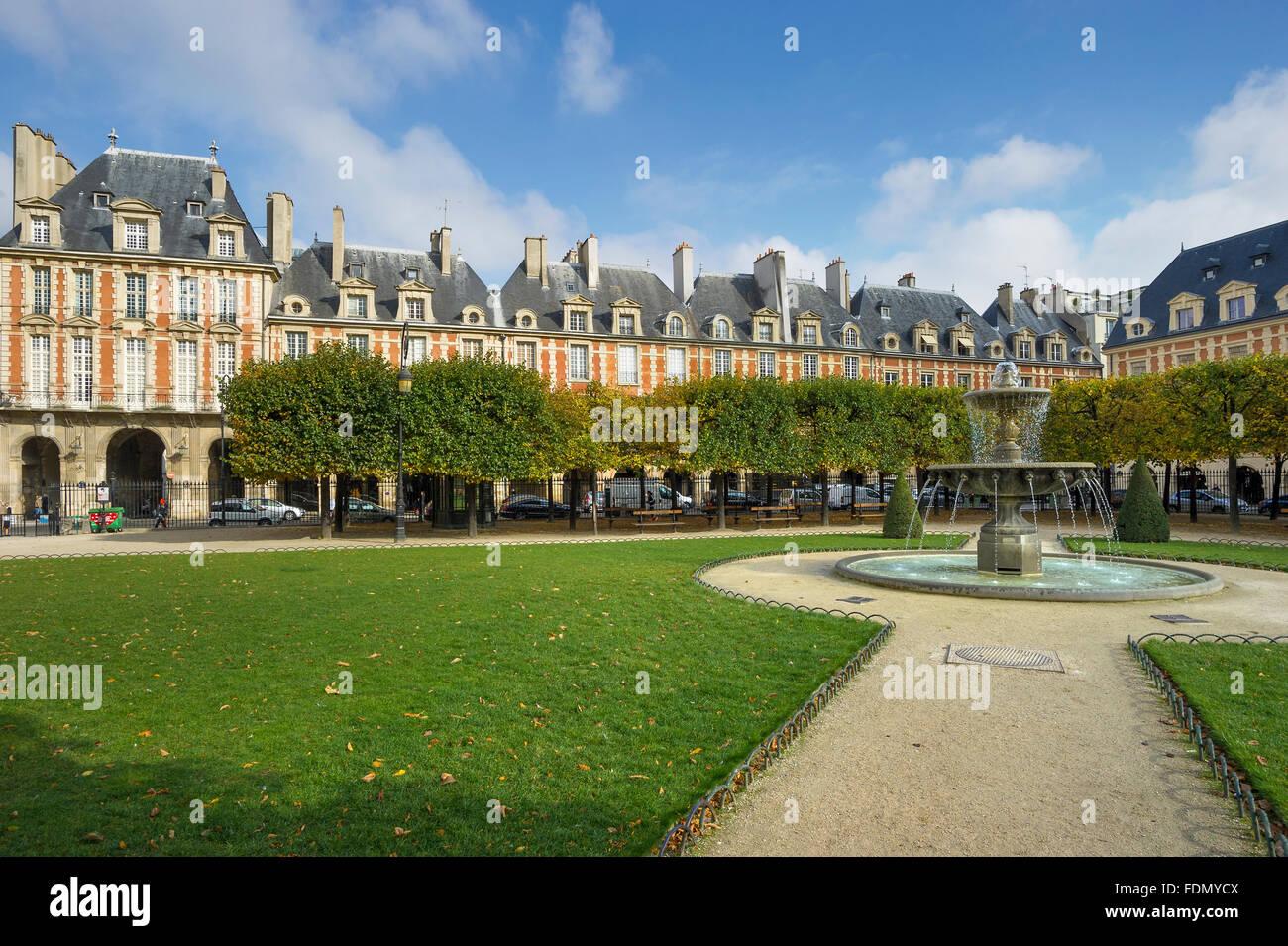 Place des Vosges, Marais, Paris, France - Stock Image