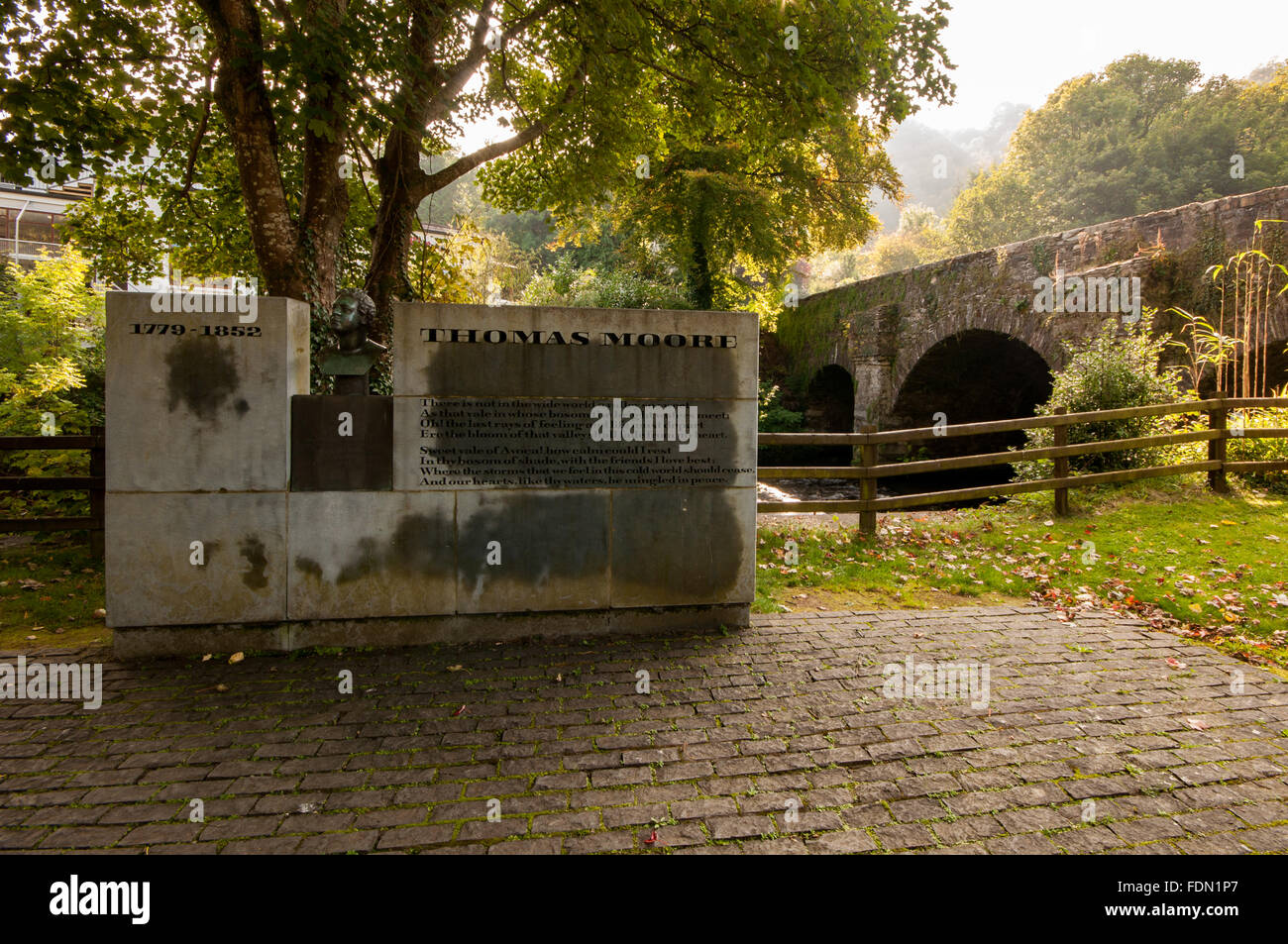 Monument to the poet Thomas Moore at the Meeting of the Waters at Avoca in county  Wicklow, Ireland - Stock Image
