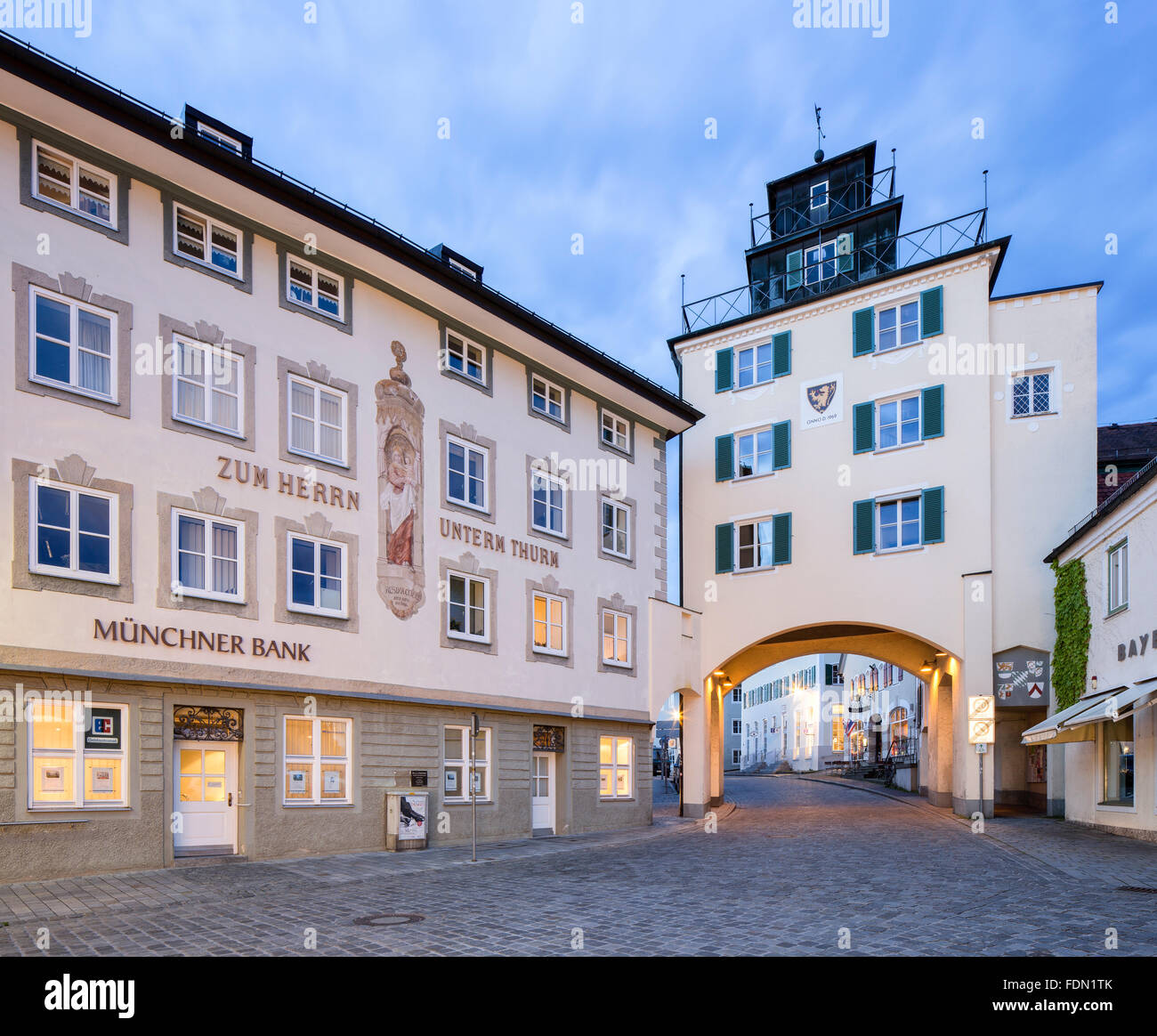 Khan tower of the medieval fortifications, Bad Tölz, Upper Bavaria, Bavaria, Germany - Stock Image