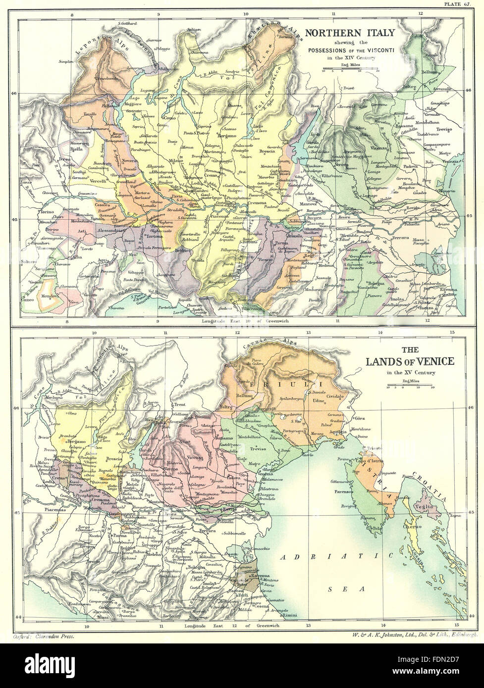 Italy northern possessions of visconti xiv century lands venice italy northern possessions of visconti xiv century lands venice 15c 1903 map gumiabroncs Image collections
