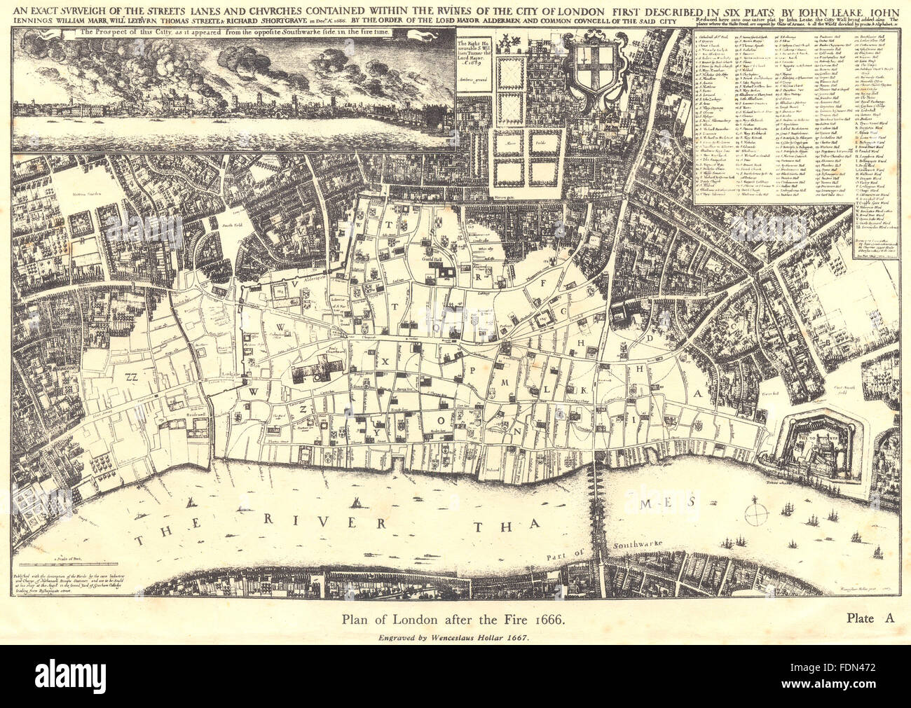 City Of London Plan Of London After The Fire 1666 After Hollar Stock Photo Alamy