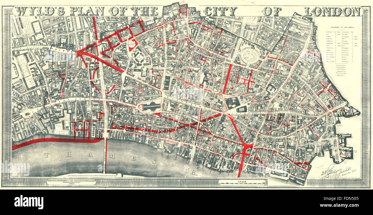 city of london wylds plan 19th century street improvements 1944 old map