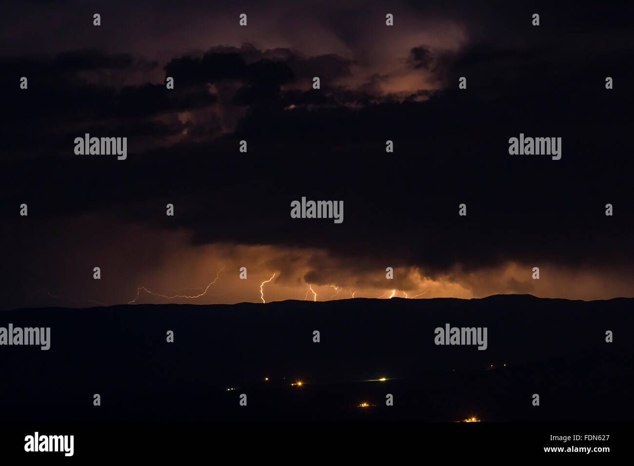 Lightning Strikes At Night Over Tularosa Basin Viewed From Aguirre Spring Campground In The Organ Mountains New Mexico USA