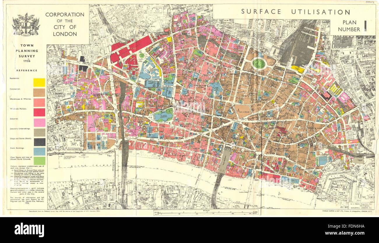 CITY OF LONDON Town Planning Survey SURFACE UTILISATION - Old map shop london