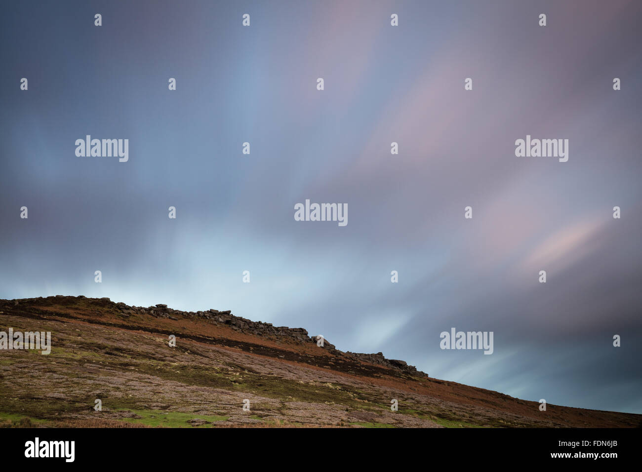 Sheffield, UK. 1st February, 2016. UK Weather: As Storm Henry's high winds hit the UK, a long exposure captures Stock Photo