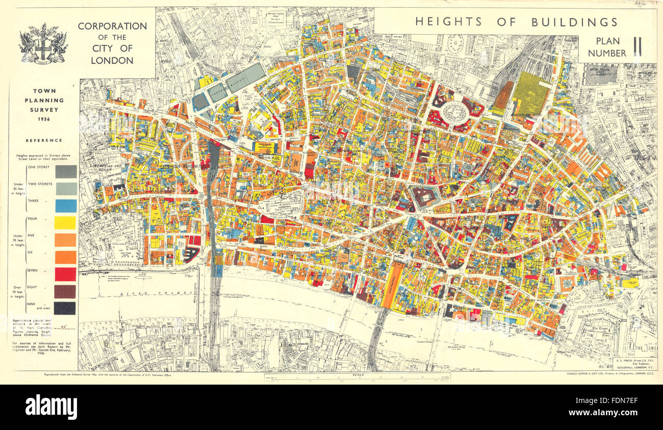 London Town Map.City Of London Town Planning Survey 1936 Heights Of Buildings