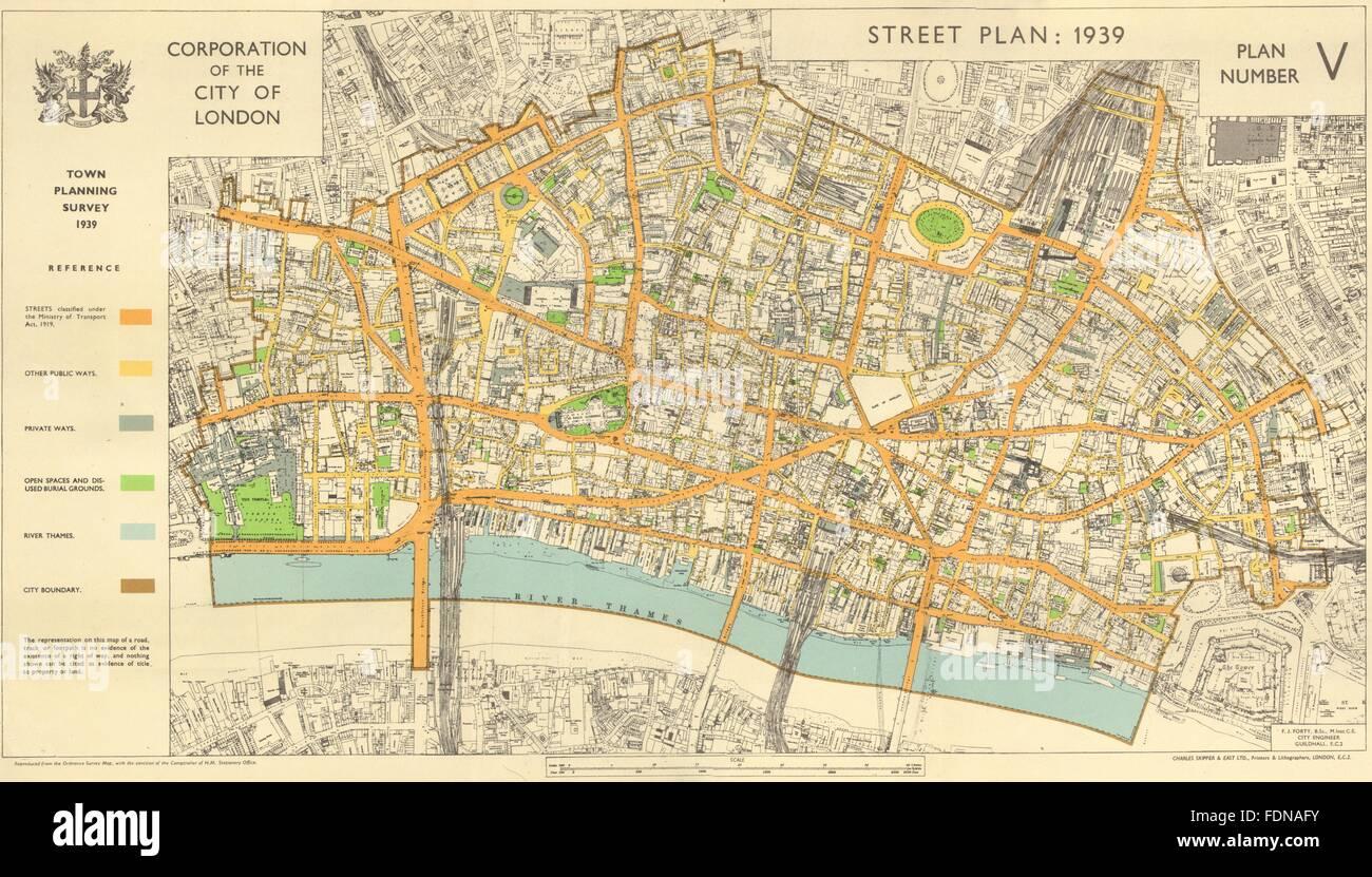 London Town Map.City Of London Town Planning Survey 1939 Street Plan 1944 Vintage