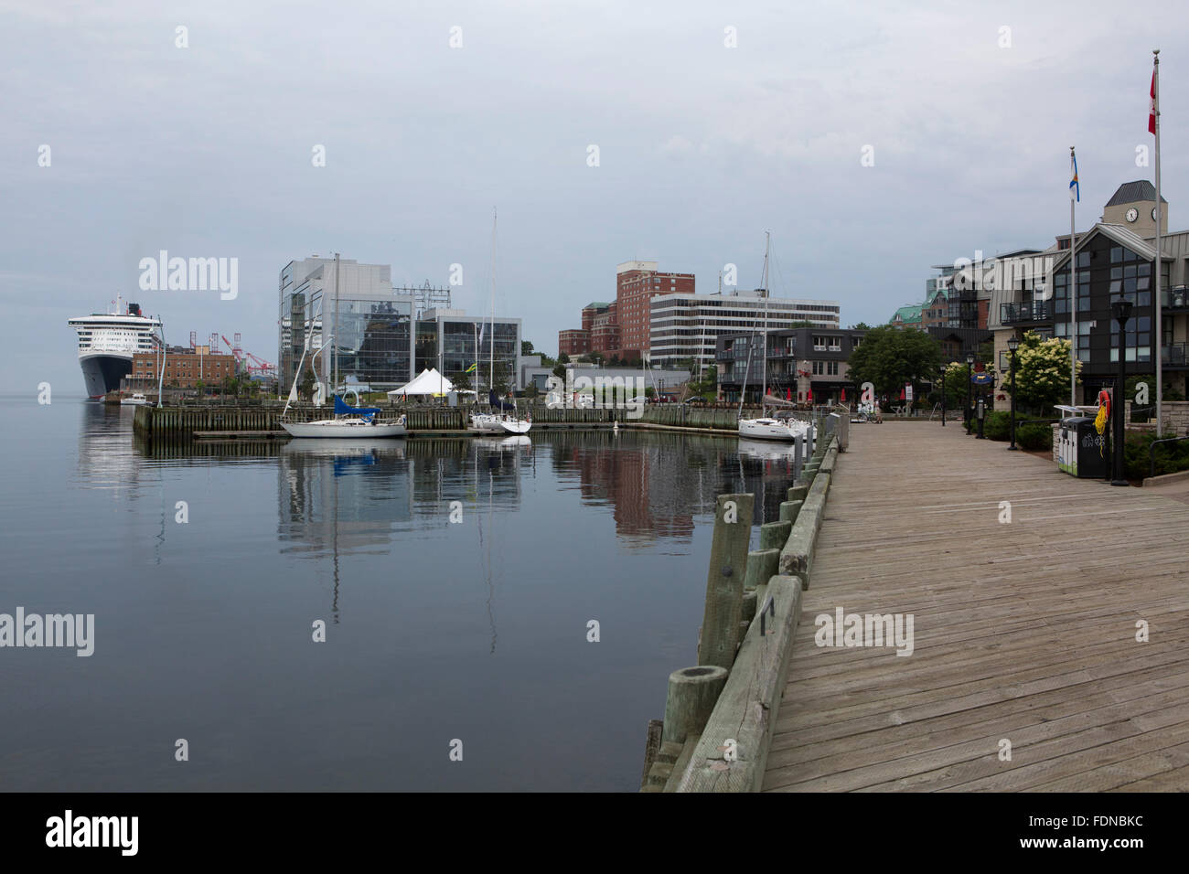 Wooden wharves by the waterfront in Halifax, Canada. The wharves are a legacy of the freight trade in the Nova Scotian - Stock Image