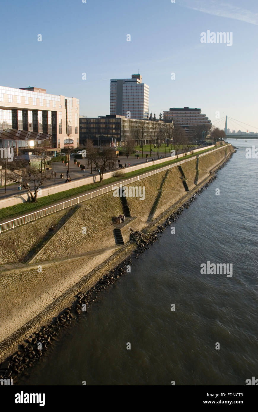 shore,cologne,rhine river - Stock Image