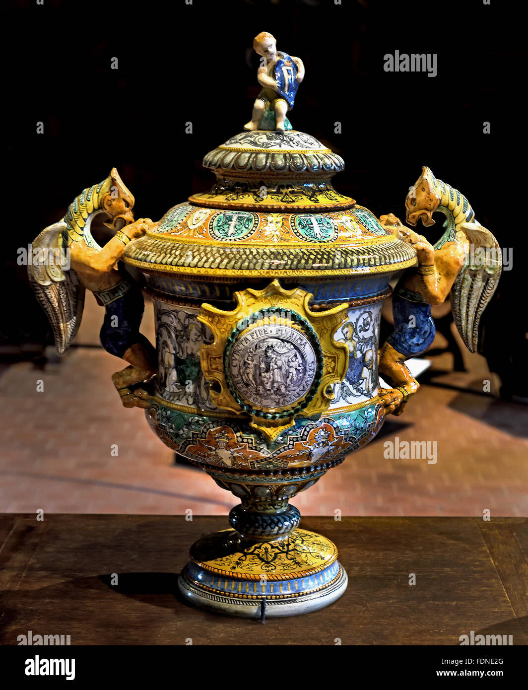 Covered vase with two Handels Ulysse Besnard 1826-1899 Faience Blois France French ( Chateau de Blois ) - Stock Image