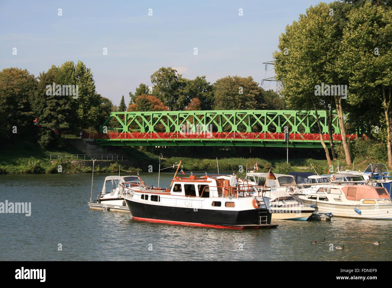 motorboat,dortmund ems canal,lucas bridge - Stock Image