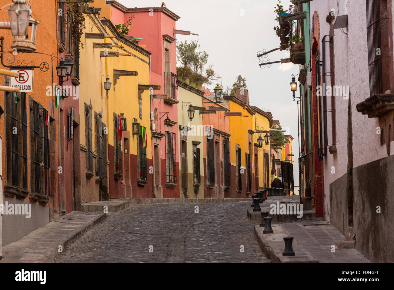 Spanish Colonial Style Homes Along The Cobblestone Recreo Street In