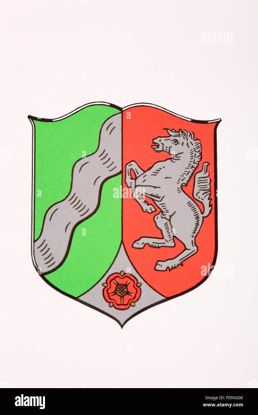 coat of arms,north rhine westphalia - Stock Image