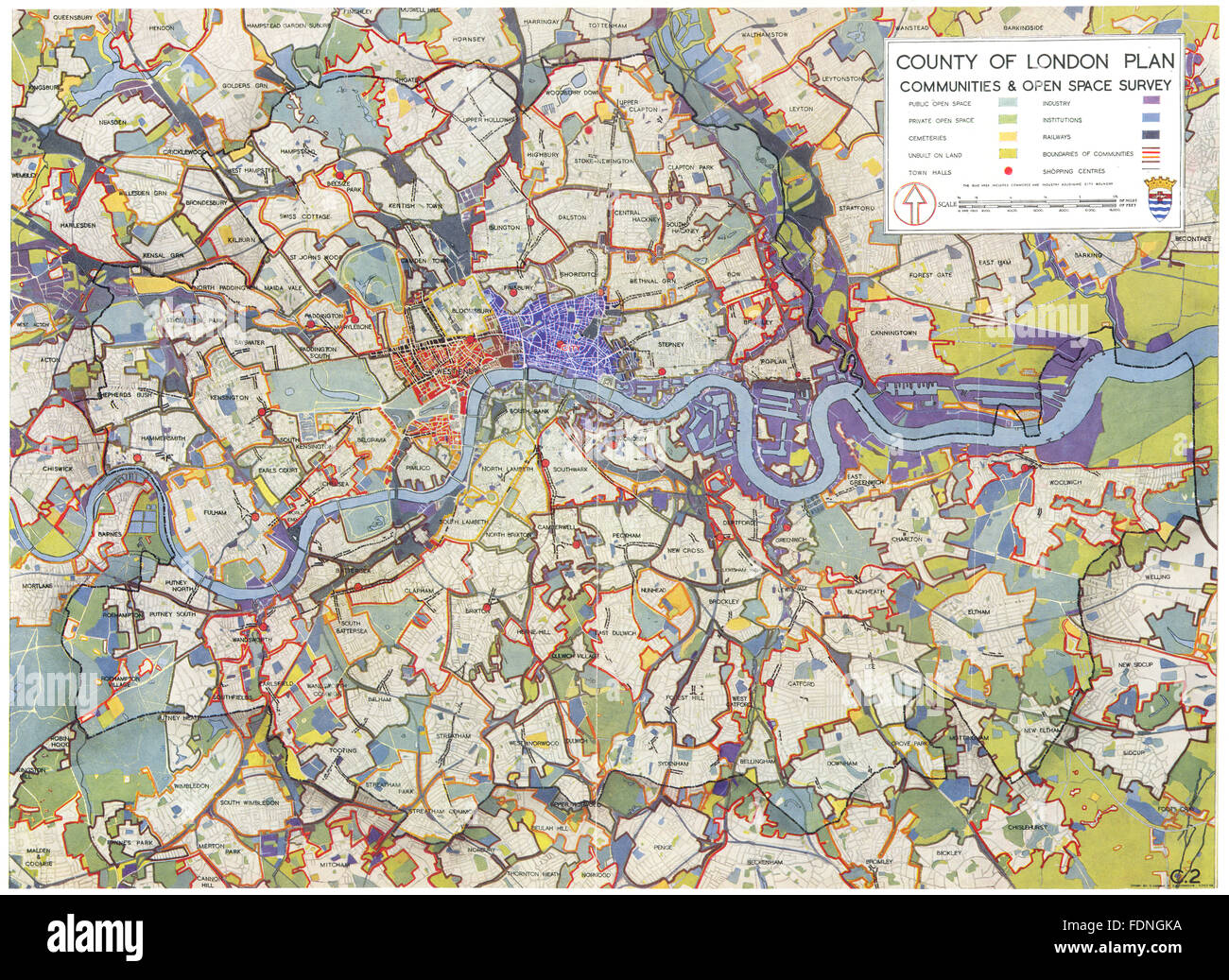 LONDON: County of London plan communities & open space survey, 1943 old map - Stock Image