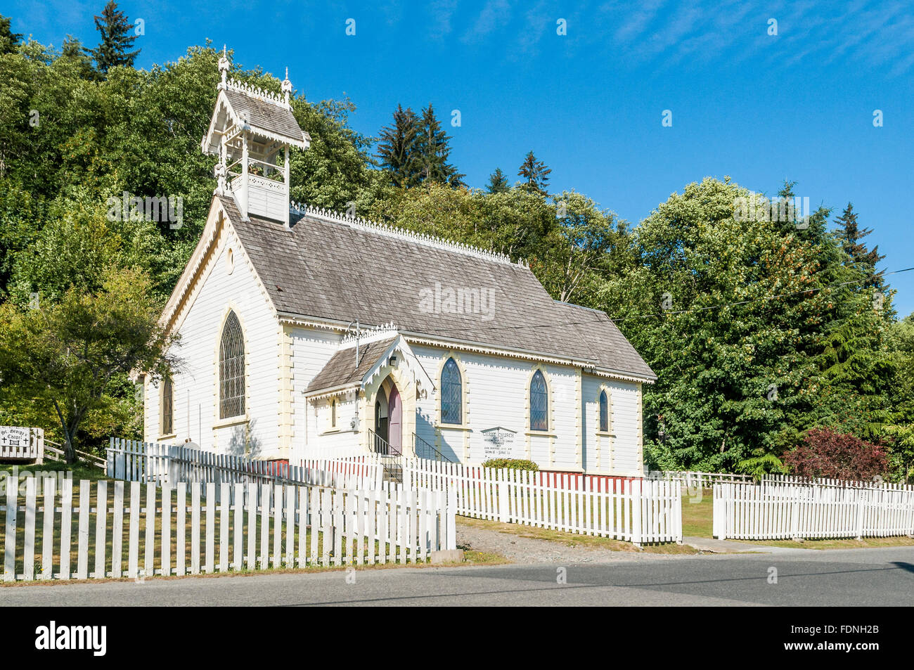 Anglican Church, Alert Bay, Cormorant Island,  British Columbia, Canada - Stock Image