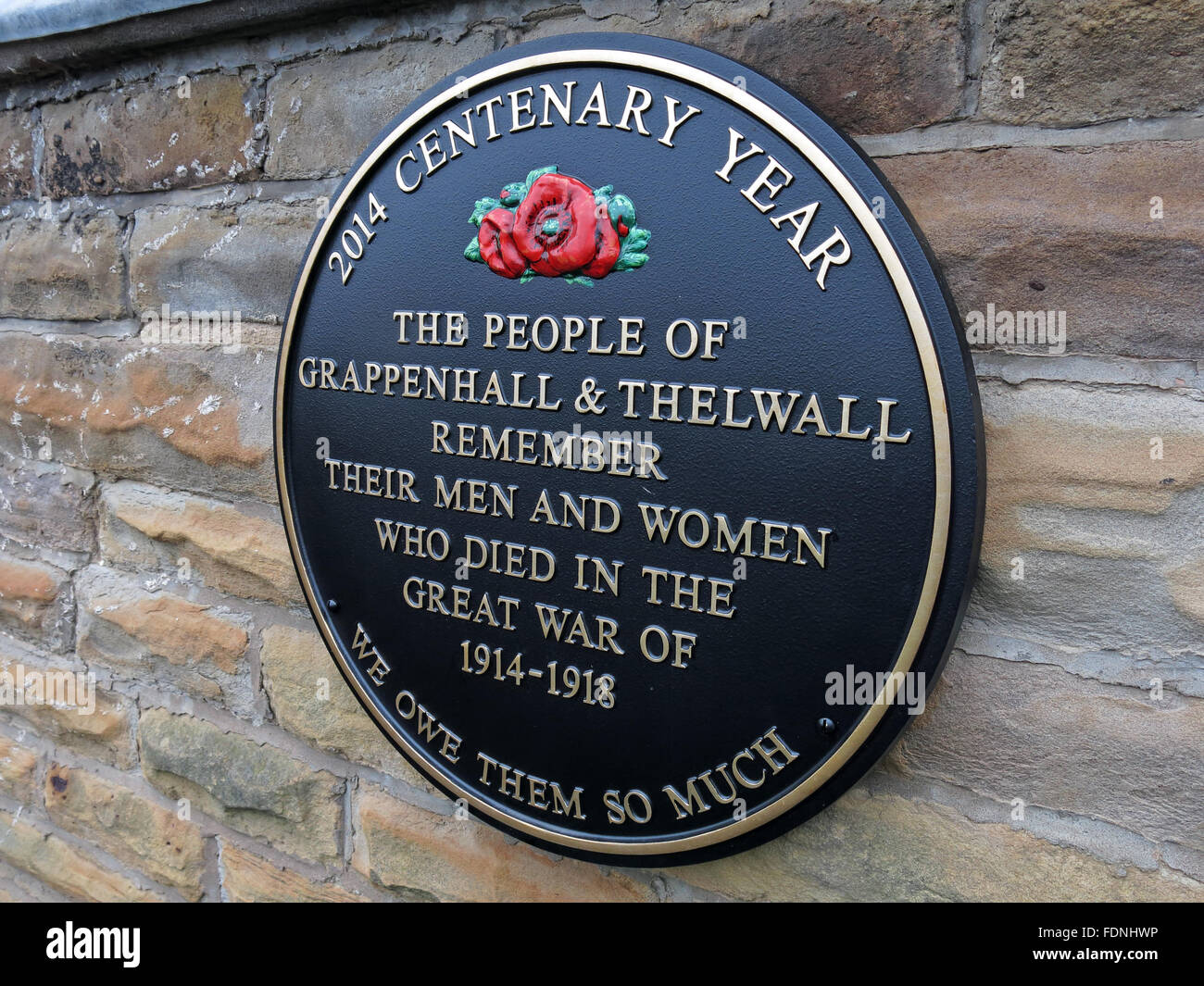 2014 Centenary Year Plaque, Grappenhall & Thelwall - Great War 1914-1918, Cheshire, England, UK - Methodist - Stock Image