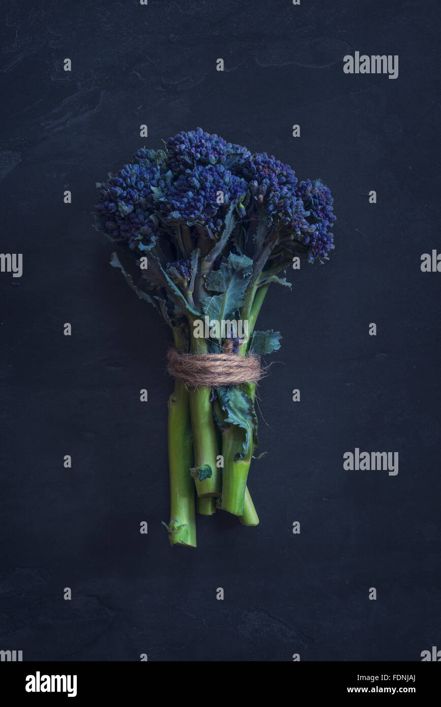 A bunch of purple sprouting broccoli - Stock Image