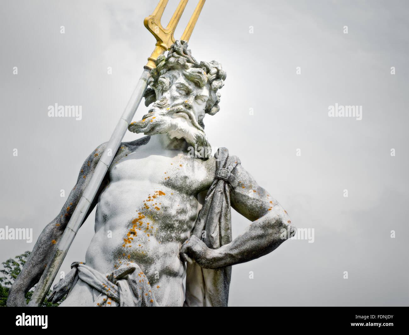 statue,neptune,herrenchiemsee - Stock Image