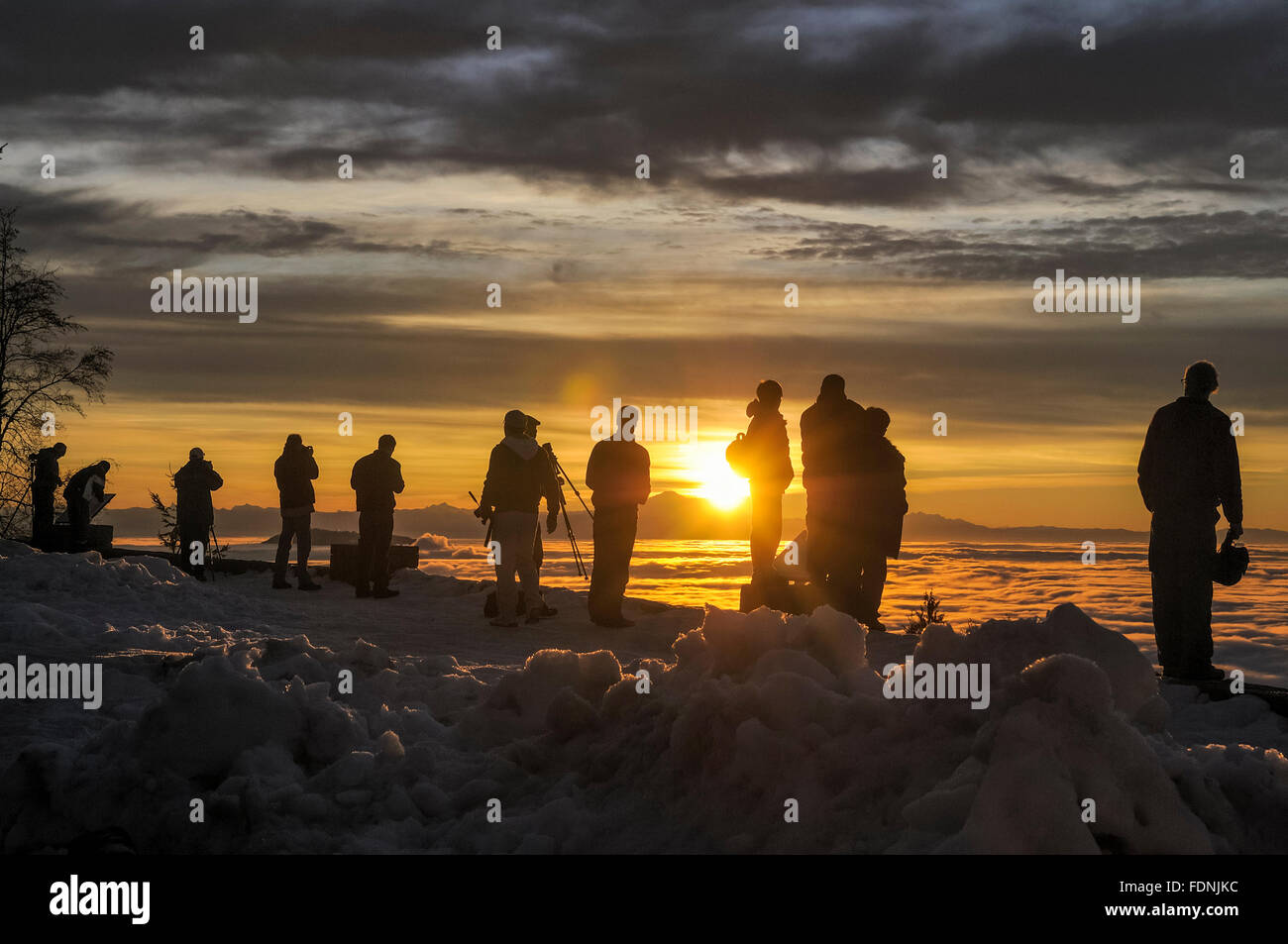 Photographers at dawn, above the clouds, Cypress Provincial Park, N. Vancouver, British Columbia, Canada - Stock Image