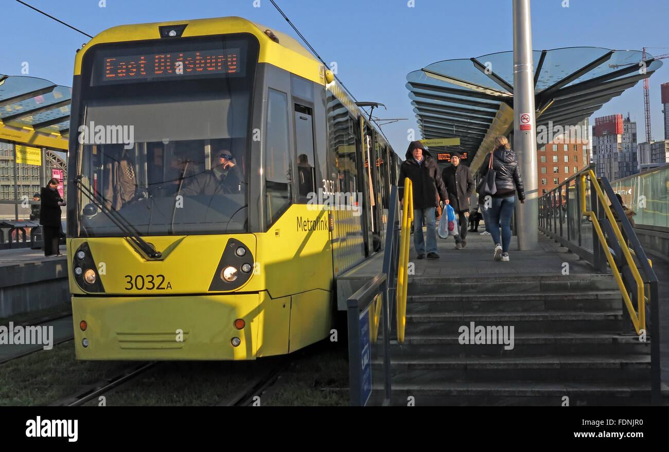 East Didsbury Metrolink Tram, Castlefield,Deansgate,Manchester,England,UK - Stock Image