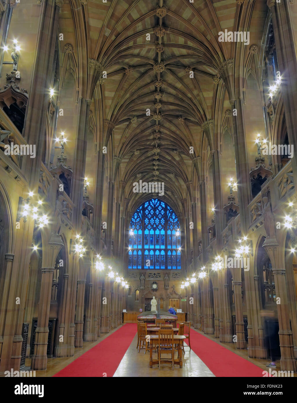 John Rylands Library Interior,Deansgate,Manchester,England,UK - Long View - Stock Image