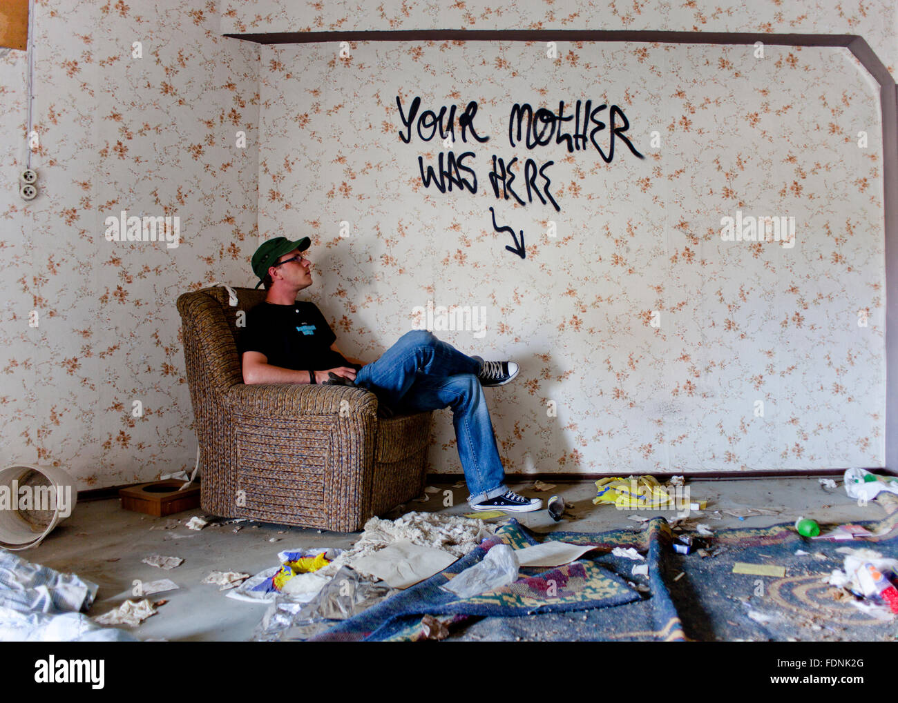young man,chaos,rooms,disorder,messy - Stock Image