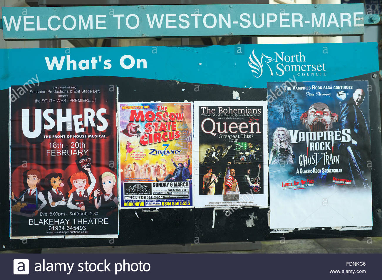 Seaside entertainment posters, in Weston-super-Mare, North Somerset, UK. - Stock Image