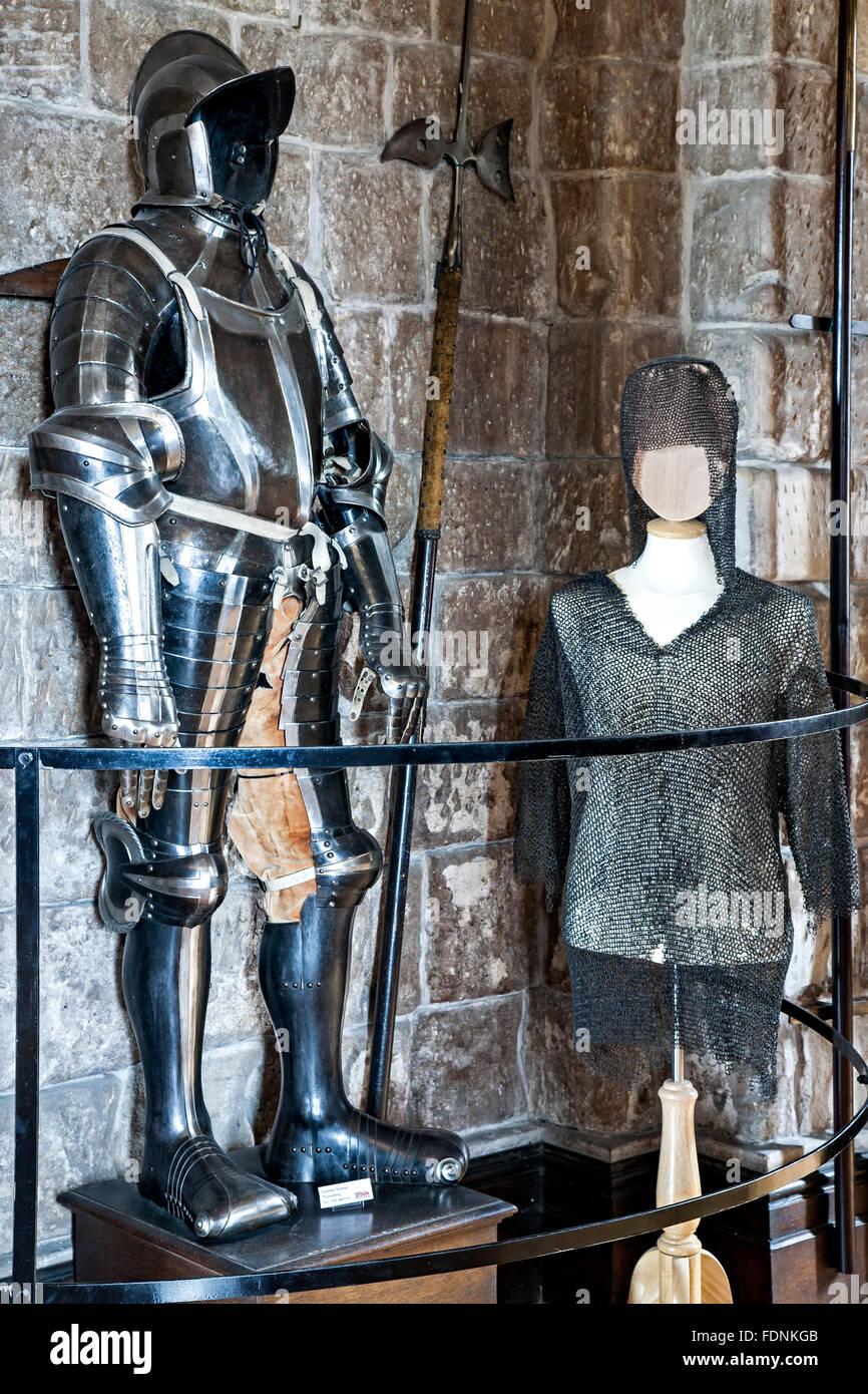 Armor, Bamburgh Castle, Bamburgh, England, United Kingdom - Stock Image