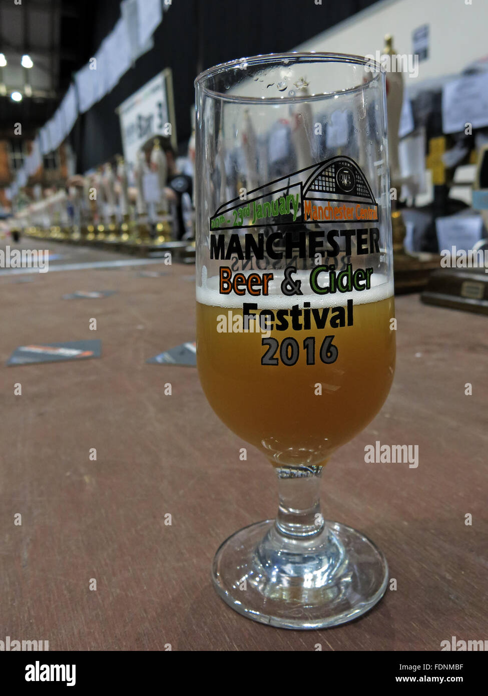 Manchester Central CAMRA winter beer festival 2016,Lancs,England, UK Beer Glass - Stock Image