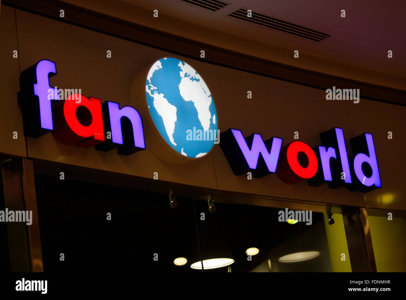 Markenname: 'Fan World', Berlin. - Stock Image