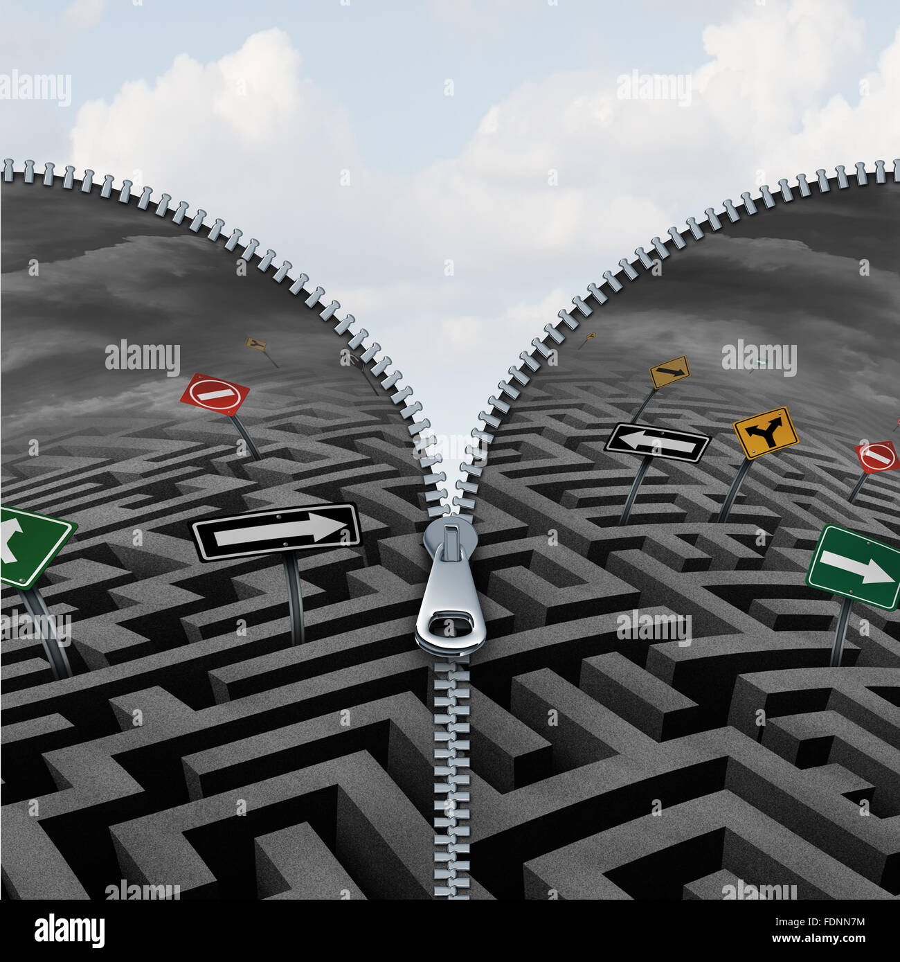 Business insight and discovery concept as a confusing maze or labyrinth being zipped open to reveal a beautifil - Stock Image