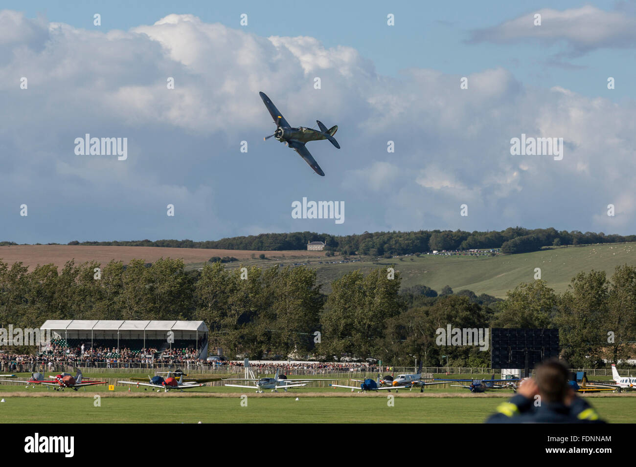 Flypast over Goodwood aerodrome during the Revival - Stock Image