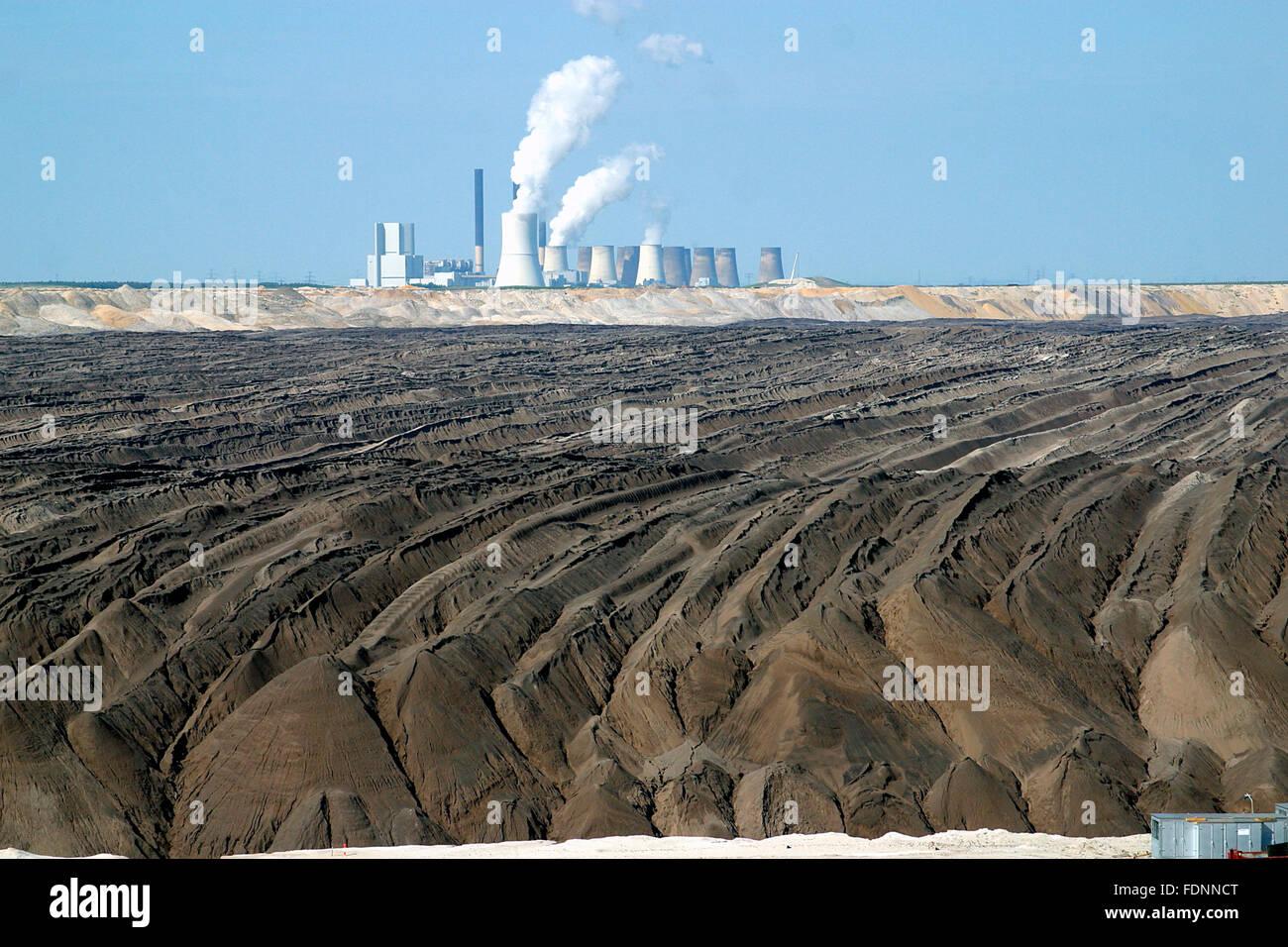 industrial landscape,opencast,power plant,mine dump,mining - Stock Image