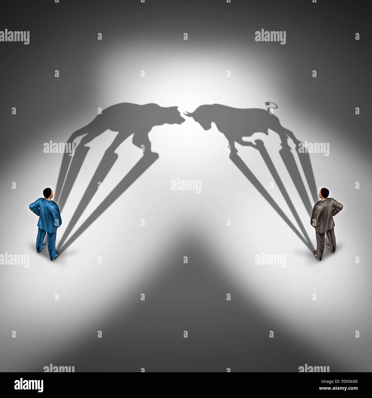 Bear and bull investor trading and investing financial symbol with a two businessmen representing bearish and bullish - Stock Image