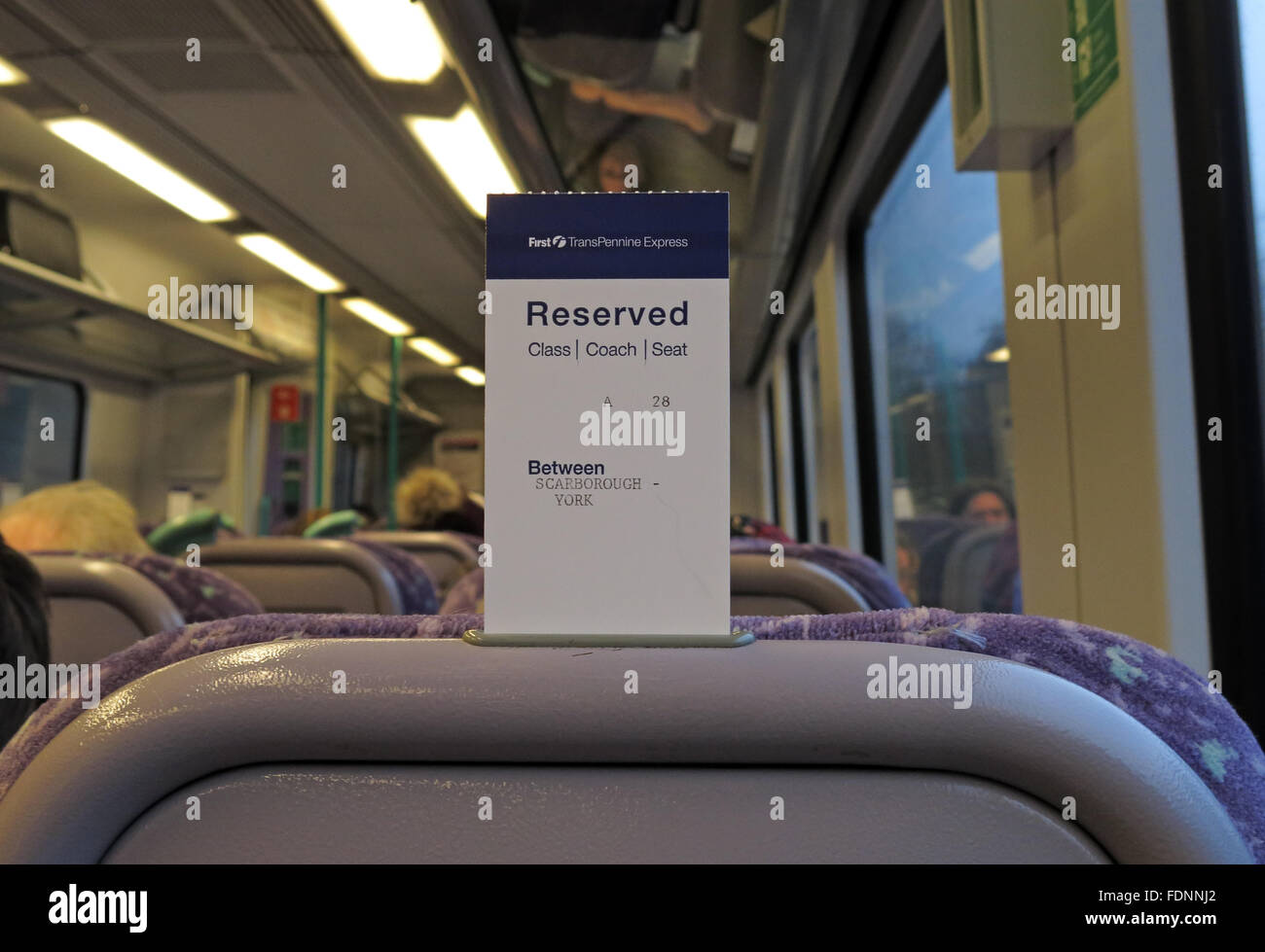 Seat reservation on a British Rail Seat,England,UK - Stock Image