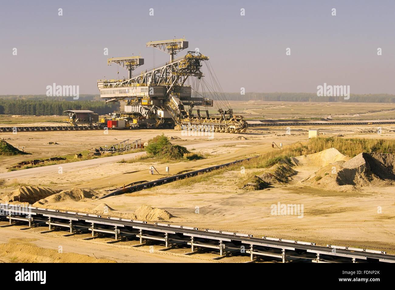 opencast,welzow,brown coal mining - Stock Image