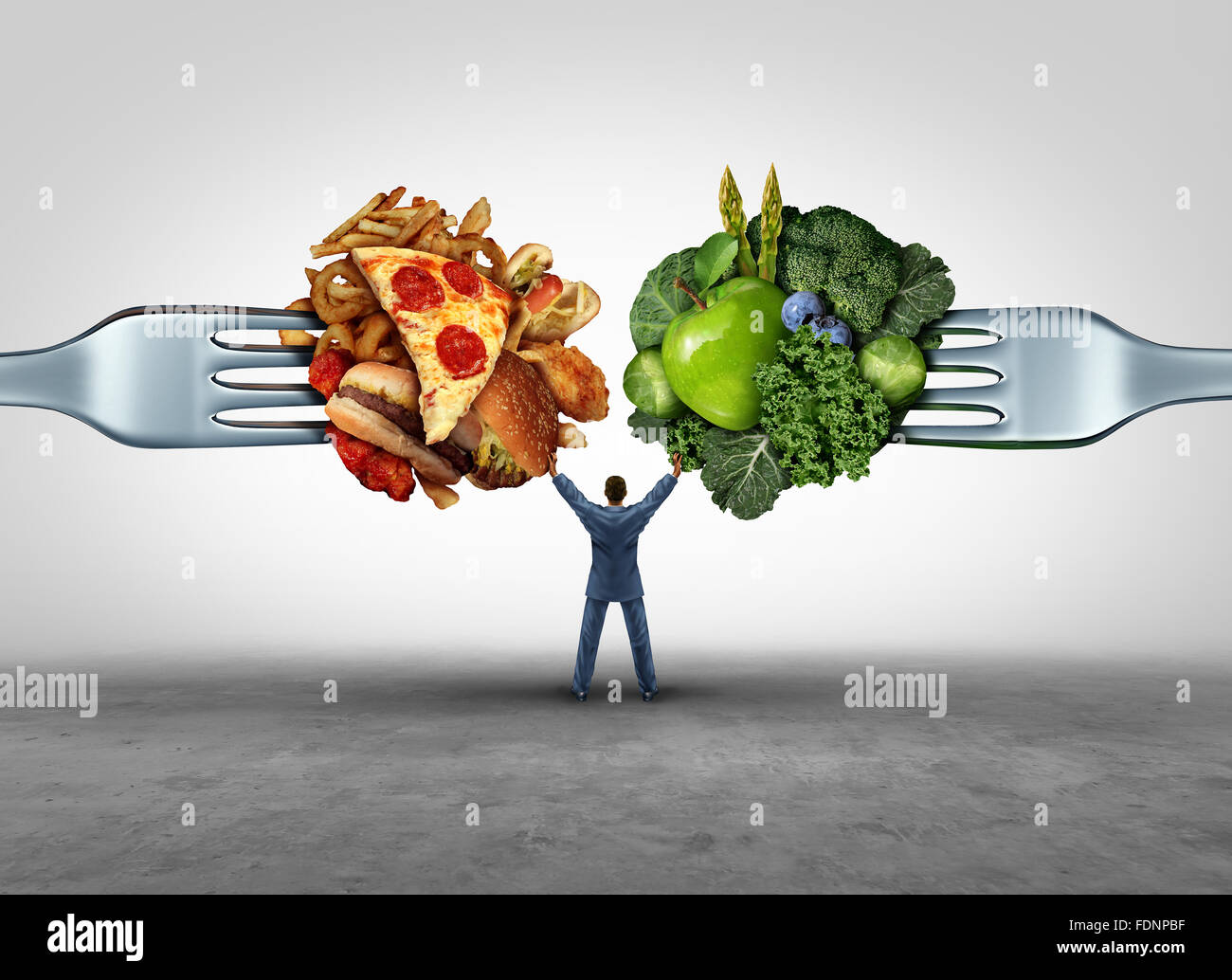 Food health decision and diet choice concept and nutrition options dilemma between healthy good fresh fruit and - Stock Image
