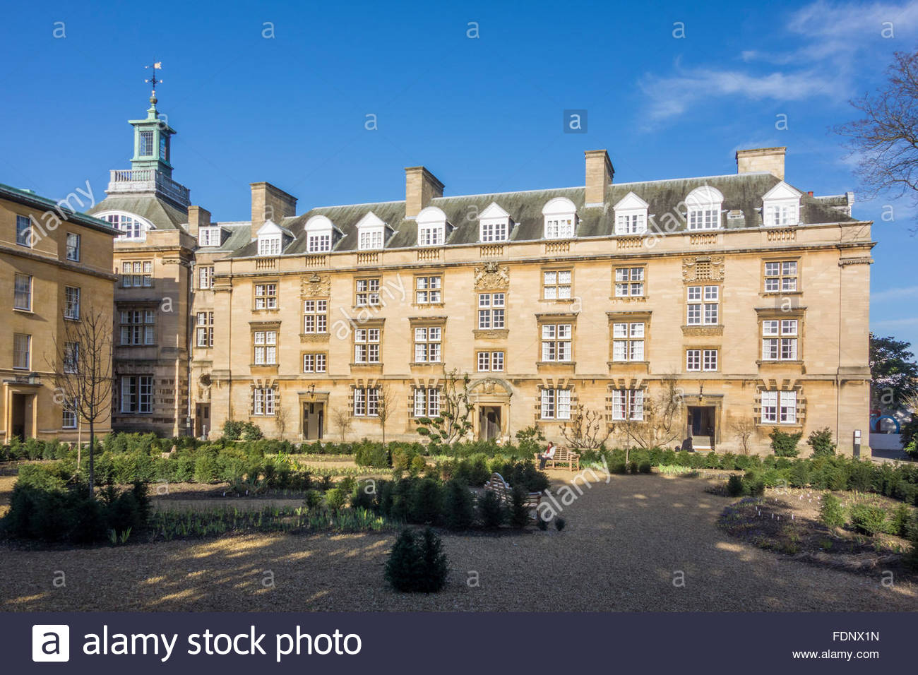 Third Court at Christ's College, Cambridge in the winter sunshine with a bright blue sky - Stock Image