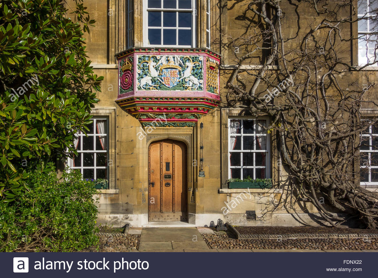 Door to the Masters Lodge at Christ's College, Cambridge in the winter - Stock Image