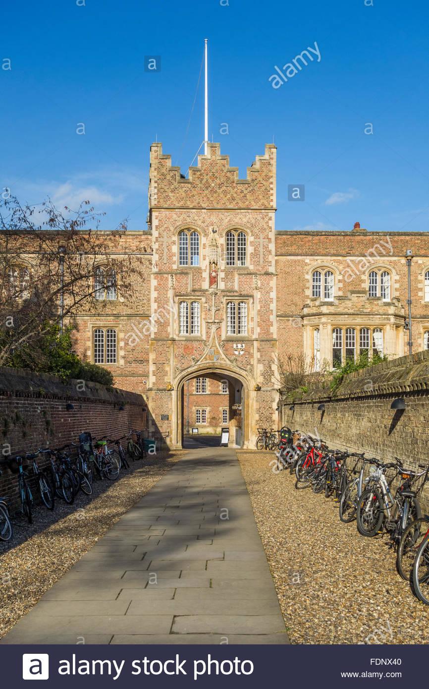 Jesus College Gatehouse, Cambridge - Stock Image