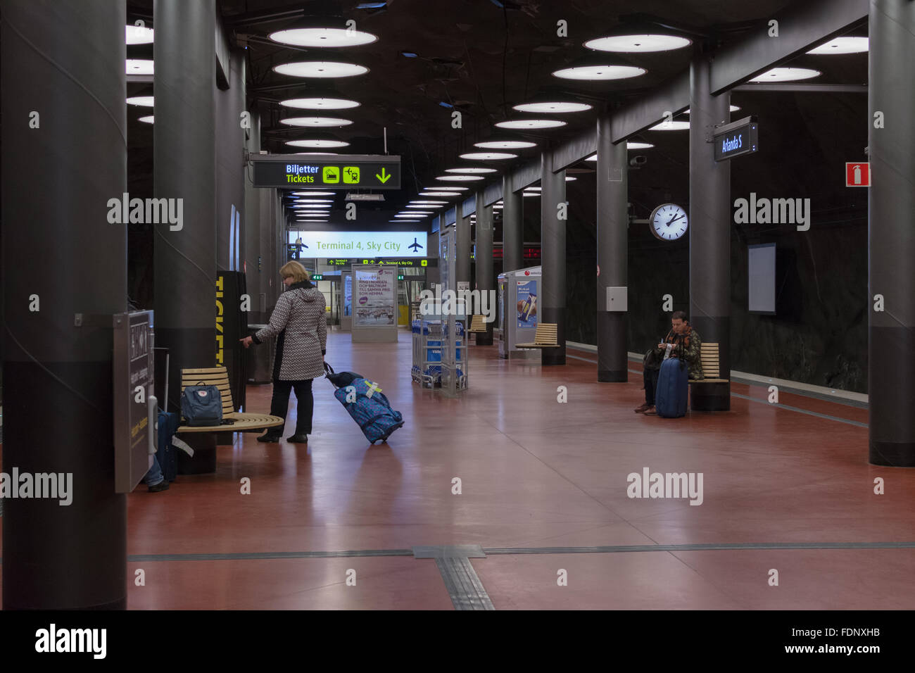 Arlanda South Station in Stockholm, Sweden - one of two stations at Arlanda airport used by the Arlanda Express - Stock Image