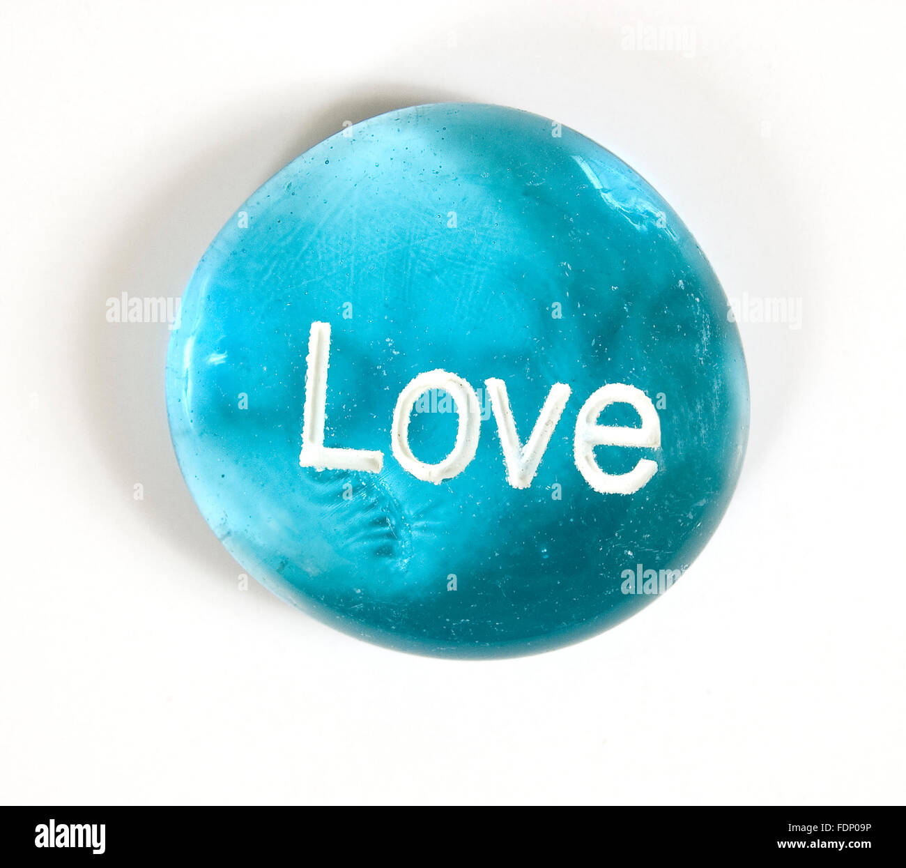 Love Stone on White - Stock Image